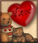 Valentine teddy bear & kitty